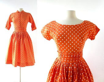 Vintage 50s Dress and Jacket | Just Whistle | Polka Dot Dress | 1950s Dress | XS
