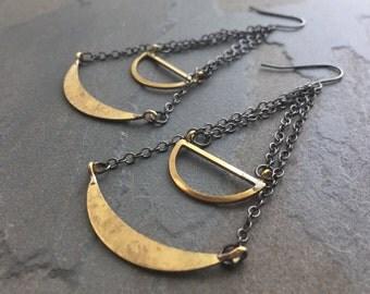 SCALE-Vintage Brass Bohemian Tribal Half Moon Chandelier Earrings