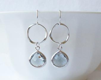Silver Charcoal Drop Earrings. Charcoal Grey Teardrop Drop Earrings. Gift for Her. Dangle Earrings. Modern Drop Earrings. Christmas Gift