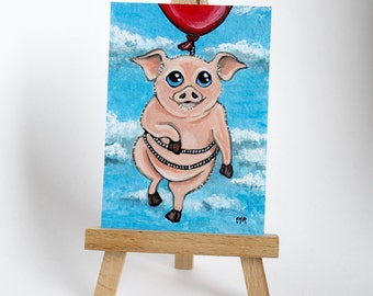 Original ACEO Flying Pig Red Balloon Clouds | Whimsical Animal Art Illustration by Lisa Marie Robinson