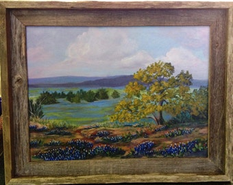 12 x 16 Texas Hill Country Bluebonnet Landscape Painting by Lana Robinson