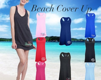 Monogrammed cover up , Ladies beach cover up , beach dress , summer beach dress, monogrammed beach cover up