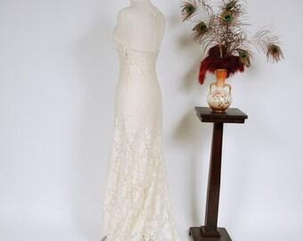 Vintage 1930s Wedding Dress - Hollywood Starlet Halter Bias Cut Lace Wedding Dress with Racer Back