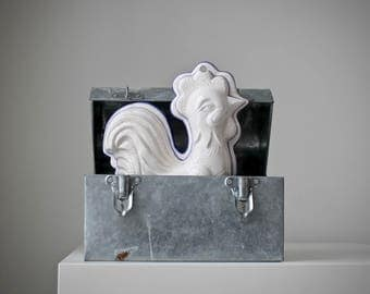 Porcelain Rooster Mold, French Country Rooster, Ceramic Rooster Mold, Decorative Mold, White Porcelain Rooster, Farmhouse Decor, Chanticleer