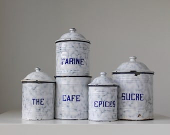 Vintage Kitchen Canisters, French Canister Set, Graniteware Canister Set, French Flea Market, Brocante Style, Rustic French Canisters