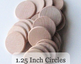 Unfinished Wooden Circles 1.25 inch x 1/8inch, Pack of 50