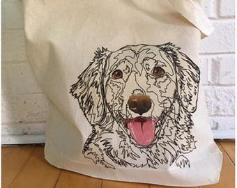 Dog Art Tote, Dog Face Tote, Dog Gift, Tote Bag, Dog Bag, Large Tote Bag