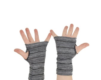 Toddler Arm Warmers in Grey and Silver Tinsel Stripes - Fingerless Gloves