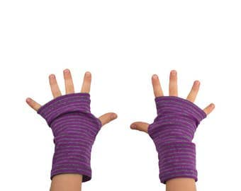 Kids Arm Warmers in Purple and Grey Stripes - Fingerless Gloves