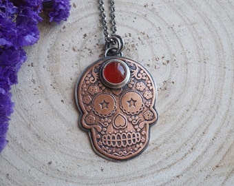 Sugar Skull Pendant Copper And Sterling Silver with Carnelian Etched Handmade