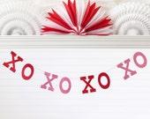 Glitter XOXOXOXO Banner - 5 inch Letters - Valentines Day Banner Valentine Decor Valentine Home Decor Hugs & Kisses Banner Glitter Banner
