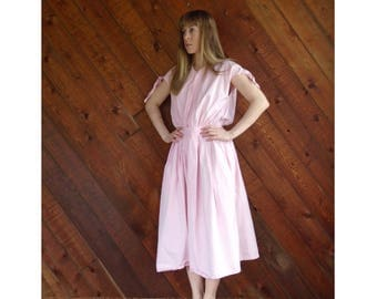 Salmon Pink Button Down Day Dress - Vintage 70s/80s - SMALL