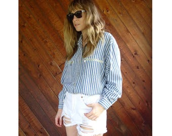 Striped Denim JORDACHE Button Down Shirt - Vintage 90s - M