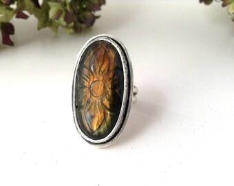 labradorite ring-sterling silver-flower ring-orange labradorite-carved labradorite-size 6.75-statement ring-labradorite jewelry