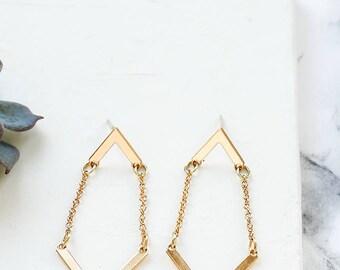 Balance Earrings, Modern Earrings, Dangle Earrings, Chevron Earrings, Chain Earrings, V Earrings, Drop Earrings