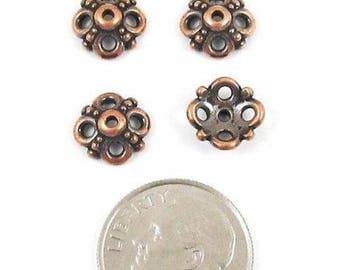 TierraCast Pewter Bead Caps-Antique Copper Clover (4)