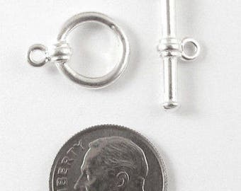 TierraCast Pewter Toggle Clasp-Bright Silver Bar & Ring (1 Set)