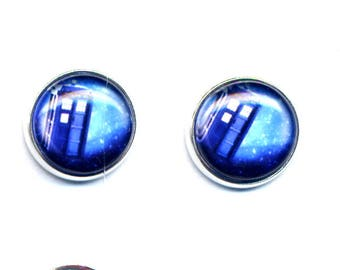 Stud Earrings, Small Stud Earrings, Tardis Doctor Who Hypoallergenic Earrings, Posts earrings, Silver Tone Earrings by annaart72