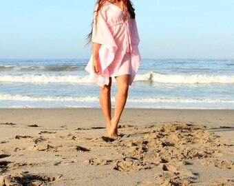 Mini Caftan Dress - Beach Cover Up Kaftan in Pink Cotton Gauze - 20 Colors