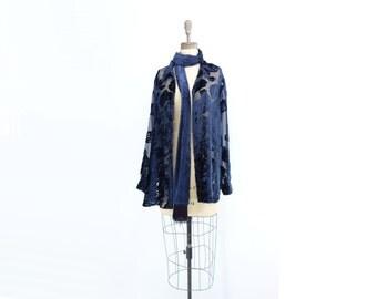 Navy Velvet Blouse Vintage Cut Velvet 1990s Sheer Blouse Burnout Velvet Tunic Cut Velvet Jacket Navy Blue Tunic Velvet Scarf Blouse m