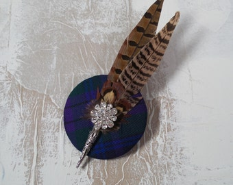 Tartan brooch with pheasant feathers 'Iona'. Wedding brooch-Special occasion brooch (Can be made in other tartans)
