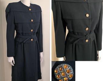 1940s Black Wool Belted Vintage Coat SZ S/M