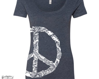 Womens PEACE Sign TriBlend Scoop Neck Tee - T Shirt S M L XL XXL (+ Colors) Zen Threads