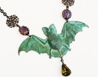 Large Verdigris Bat Necklace Victorian Gothic Jewelry Green Patina Necklace Rhinestone Statement Bat Jewelry