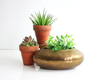 Hammered Brass Planter / Mid Century Modern Brass Flower Pot / Mid Century Brass Plant Pot