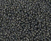 8/0 Aged Matte Opaque Black with White Stripes Picasso Czech Glass Seed Beads 10 Grams (CS275) SE