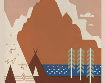 WPA Vintage Montana Poster from 1930s  Re-Print - Wall Art - Welcome to Montana - Cabin Wall Art - Montana Wall Art - Indian Teepee