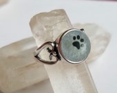NEW Heart Paw Print Cremation Jewelry Ring size 7,8 ashes infused into glass sterling silver heart band memorial Urn Pet