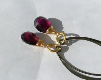 Rhodolite Garnet Long Earring Wire Wrap 14kt Gold Fill Oxidized Sterling Silver  Fill Mixed Metal Elongated Drop Earring Boho Chic