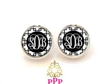 Black Monogram Earrings, Pendant Earrings,  Stud Earrings, Dangle Earrings, Personalized Studs, Personalized Jewelry, Monogram Studs (480)