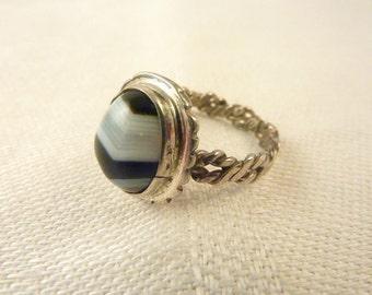 Vintage Sterling Silver Handmade Banded Agate Ring Size 4