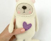 Small Stuffed Animal Polar Bear Upcycled Repurposed Sweater