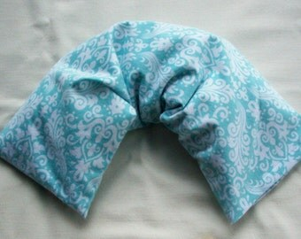 Therapy Pack Rice Bag - Aqua Blue Damask Flannel - Use Hot or Cold