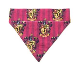 Pet Accessory - Gryffindor House Crest - Over the Collar - Custom - Bandana, Bow Tie, Neck Tie, Flower