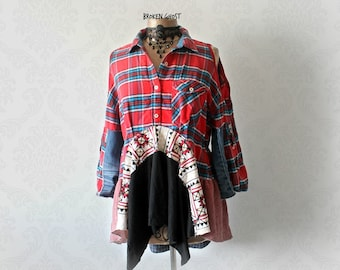 Hipster Plaid Shirt Rustic Clothes Bohemian Tunic Open Cold Shoulder Mori Girl Top Hippie Clothing Upcycle Fashion Weekend Wear L XL 'HARPER
