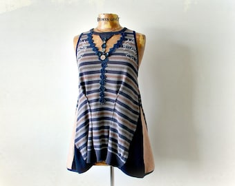 Women's Art Shirt Unique Clothes Long Tank Top Urban Chic Striped Boho Tunic Peek a Boo Cut Out Painted Clothes Upcycle Recycle L XL 'TRINA'