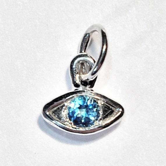 Sterling Silver & Blue Topaz Eye Necklace