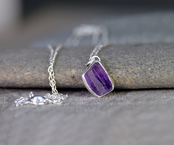 Raw Amethyst Necklace In Indigo, 1.60ct Raw Amethyst, February Birthstone, Uncut Raw Amethyst Necklace, Amethyst Gift