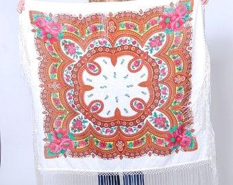 Vintage RUSSIAN Shawl Floral Ukrainian Scarf GYPSY Shawl White FRINGE Boho Scarf