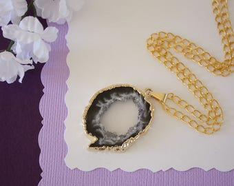 Druzy Necklace Gold, Gold Geode Necklace, Crystal Necklace, Gold Geode Slice Druzy, Healing Stone, Natural Stone, Pendant, GG71
