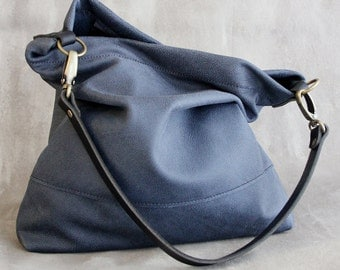 Charcoal Blue Grey Leather Bag