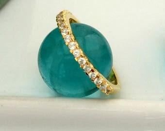 Half eternity wedding ring, gold vermeil ring, white sapphire wedding ring, diamond alternative wedding band, stack ring, tiny diamond ring
