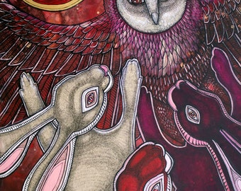 "Original ""Moondancers"" owl and rabbit painting by Lynnette Shelley"