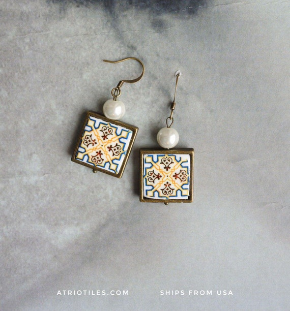 Earrings Portugal Tile Azulejo Portuguese  Antique Albergaria-a-Velha (see facade photo) since 1117 - Gift Box Included - Ships from USA 425