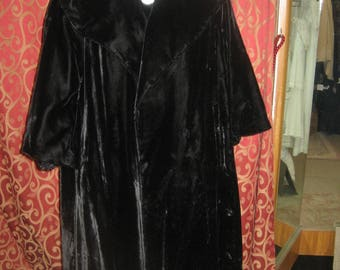 "1950's, 38"" bust, 3/4 length black velvet dress coat with deep cape collar"