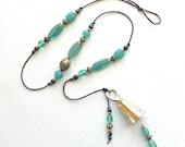 Beaded Wind Chime: Garden Chime with Jade Green Glass Beads. Teal Green. Jadeite Green. Fleur-de-Lis. Antiqued Gold. Iridescent. Brass Bell